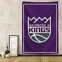 バスケットボールチームバッジタペストリー壁掛けタペストリー壁の背景リビングルームの寝室の寮のアパートのギフト装飾 Kings-25x38in