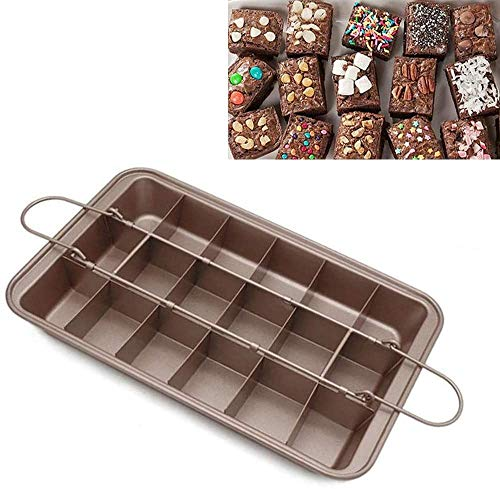MEETOZ Non Stick Brownie Pans with Dividers, High Carbon Steel 18-Lattice Brownie Baking Tray for for Oven Baking, Baking Pan with Built-in Slicer & Rack