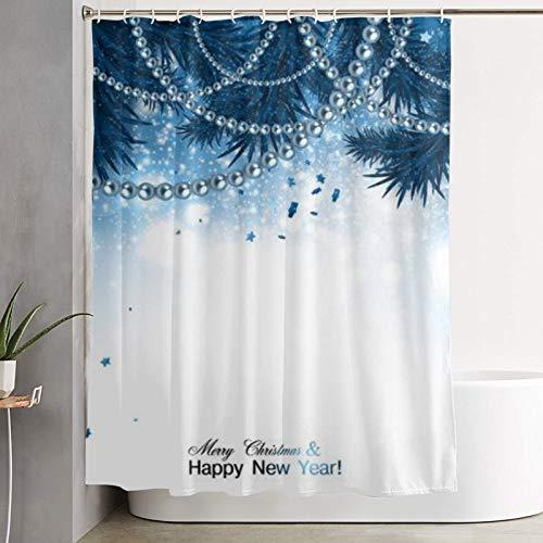 GKGYGZL Cortina de Ducha, Elegante Fondo navideño con Guirnalda Azul y Estrellas ilustración Vectorial, Cortina de baño Cortina de baño Lavable Tela de poliéster con 12 Ganchos de plástico 180x210cm