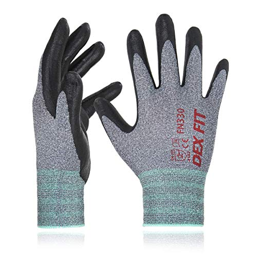 DEX FIT Nitrile Work Gloves FN330, 3D Comfort Stretch Fit, Durable Power Grip Foam Coated, Smart Touch, Thin Machine Washable, Grey Large 3 Pairs Pack