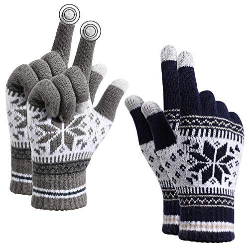 TAGVO Winter Touchscreen Gestrickte warme Handschuhe,Thermisch elastische Fleece warme Arbeitshandschuhe für Damen & Herren,zum Laufen Skifahren Radfahren Wandern Fahren-Einheitsgröße