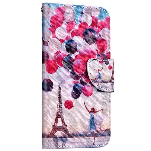 Saceebe Compatible avec Samsung Galaxy A80 / A90 Coque Cuir Etui Pochette Portefeuille Housse 3D Effet Motif Coloré Wallet Flip Housse Coque Porte-Cartes Magnetique avec Support Stand,Ballon