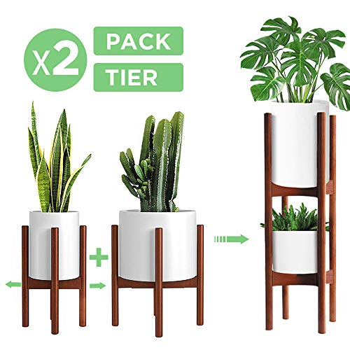 2 Pack Indoor Plant Stands, 2 Tier Tall Plant Stand (30 inches), Mid Century Bamboo Plant Stand, Adjustable Width 8-12 inches, Fits Pot Size of 8 9 10 11 12 inches (Pot & Plant Not Included), Brown