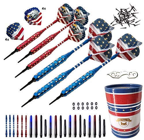 SHOT TAKER CO. EST. 2017 Soft Tip Darts Set - USA American Flag & Patriotic Bald Eagle Inspired Colors - Professional Darts with Aluminum, Plastic Shafts, O-Rings, Flights,Tool, 50PC 2BA Tips, Case