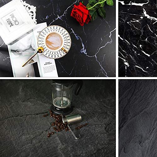 Fondo de mármol de doble cara, textura negra, patrón de hormigón, fondo de fotografía para alimentos, tablero de papel sin costuras, accesorios de estudio fotográfico.