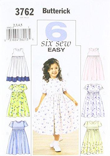 BUTTERICK 3762/2 - Patrón de Costura para Confeccionar Vestidos de niña (6 Modelos Diferentes, Tallas 2-5 años/92-116 cm) [en inglés y alemán]