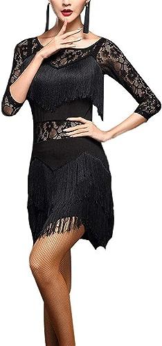 Robe de Ballet Latine pour femme Femmes Danse Latine Robe Asymétrique Frange Glands Rumba Samba Tango Salle De Danse Perforhommece Perforhommece Compétition Danse Robe ( Couleur   Noir , Taille   XL )
