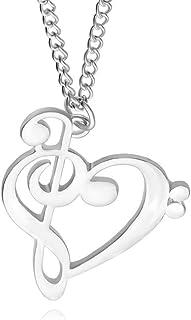 AILUOR Minimalista de la Manera Simple Hueco de Plata del Amor del corazón de Oro de la música formó de Las Mujeres Nota j...