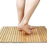 Faltbare Bambus Schritt SPA Mat Indoor / Outdoor Bad, Dusche und Bodenmatte Rutschfeste Unterseite wasserdicht Vented Design HomeToilet Badezimmer Spa Sauna Mat(60*40cm)