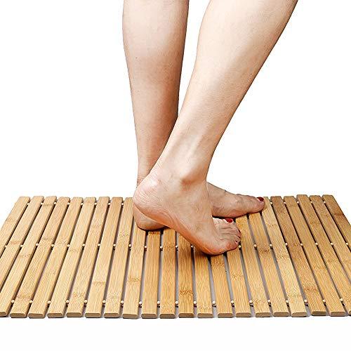 Faltbare Bambus Schritt SPA Mat Indoor / Outdoor Bad, Dusche und Bodenmatte Rutschfeste Unterseite...