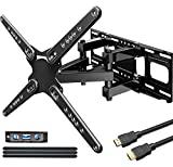 TV Wall Mount Bracket for Most 28-80 inch Flat Screen/LED/4K TVs, JUSTSTONE Full Motion TV Wall Mount Dual Swivel Articulating Tilt 6 Arms, Max VESA 600x400mm Weight Capacity 121lbs