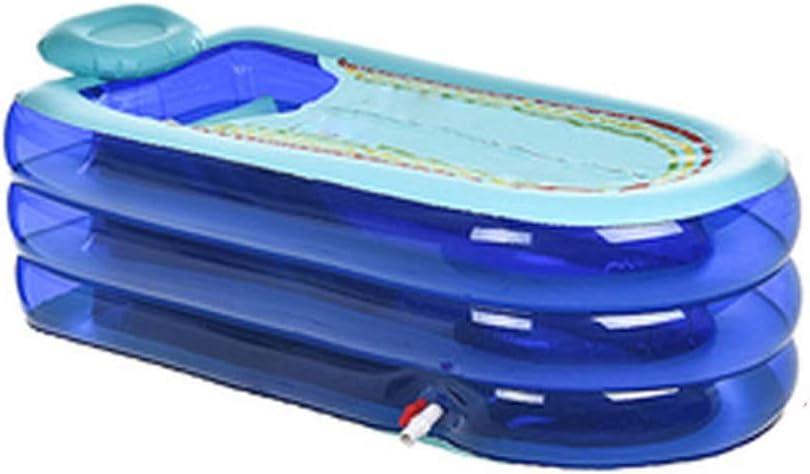 ZSP Piscina del Patio Trasero Bañera Inflable for Adultos Grandes for el hogar Bañera Plegable Gruesa Simple Barril Bañera for Adultos Bañera Piscina para niños (Color : Blue)