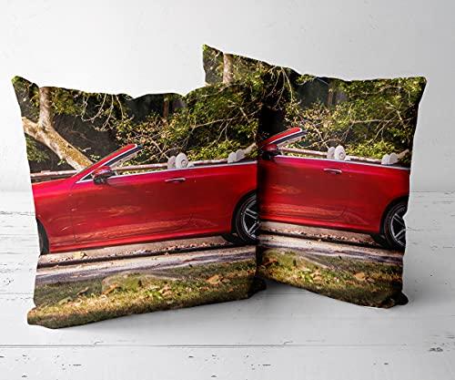 Fundas de Cojín Funda de Almohada CuadradaJuego de 2 piezas-18 x18-Funda de cojín, Almohada Decorativa para sofá, Coche, Cama y decoración de sillas.-Mercedes Benz E 400 4Matic Cabriolet AMG St