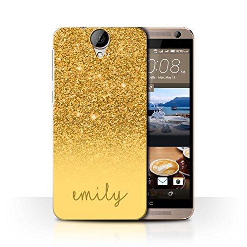 Personalisiert Hülle Für HTC One E9/E9+/Plus Individuell Glitter Effekt Gold Design Transparent Ultra Dünn Klar Hart Schutz Handyhülle Case