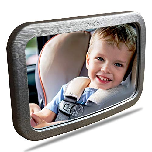 Baby Mirror for Car | Baby Car Mirror | Huge Wide-Angled Without Shaking | TPU Soft Frame | Silver Metal Printing by Facekyo