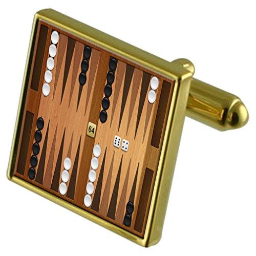 Juego de tablero de backgammon tono Oro gemelos Crystal Gift Set Clip de corbata