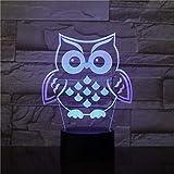 Luce notturna 3D OWL Bird LED Multicolor RGB Camera Decor lampada da letto per bambini Giocattoli regalo di Natale Lampada a sospensione nave Amazon