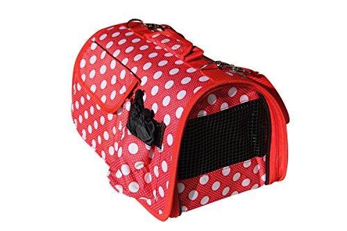 BPS (R) Portador Transportín Bolsa Bolso de Tela (Lunares) para Perro, Gato, Mascotas, Animales,Tamaño: M,43.5x25x25cm (Rojo)