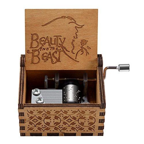 Caja de música temática de madera manivela belleza y la bestia, mecanismo de...
