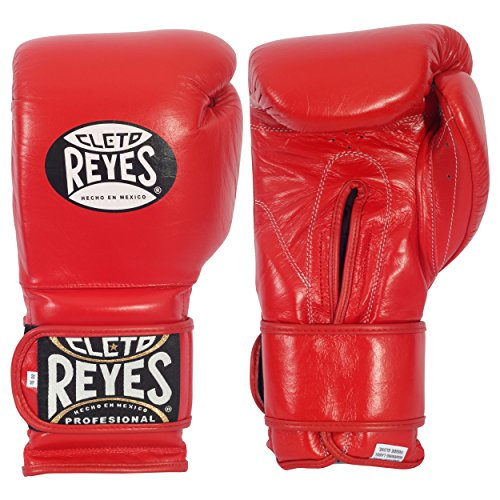 Cleto Reyes Hook and Loop Boxing Training Gloves, Red, 18 OZ