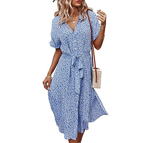 Lente en zomer dames casual losse sexy grote swing rok bloemenprint V-hals stropdas taille jurk vrouw - blauw - 5XL