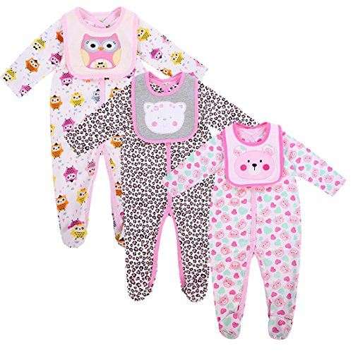 Baby Girls Footies Pajamas 3-Pack Cotton Infant Sleeper Pajamas Long Sleeve Rompers With Baby Bibs-Exemaba (6-9 Months)