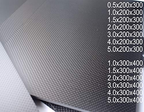 cncarbonfiber 1.5mmx200mmx300mm Plain Matte Carbon Fiber Sheet Plate Panel R/C Drones Frame