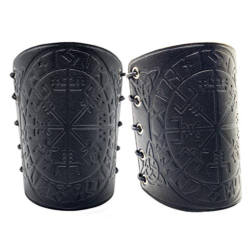 Viking Vegvisir Embossed Arm Bracers Medieval PU Leather Arm Guards for LARP Halloween Cosplay Ren Faire Black