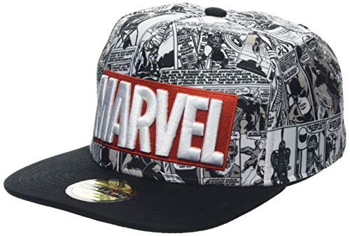 Difuzed Unisex Marvel Comics Logo and Comic Pattern Snapback Baseball Cap, Grey (Grey Grey), Einheitsgröße