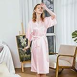 XRQ Toma De Kimono Largo De Mujer Robe De Seda Vestido De Dormir Satén Pijamas Albornoz,Rosado,L