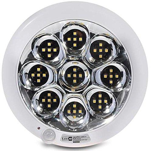 Led4u - Plafón de techo led con sensor de movimiento pir acu con batería interna luz de emergencia blanco frío o cálido (blanco cálido)