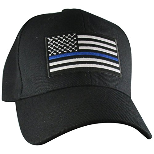 Thin Blue Line USA Hat | Black Adjustable Baseball Ball Cap | Support Police
