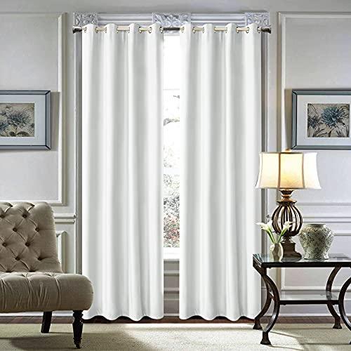 "LoyoLady Pure White Velvet Curtains 102 Inch 2 Panels Bedroom Grommet Room Darkening Window Treatment Velvet Curtain 52"" W x 102"" L"