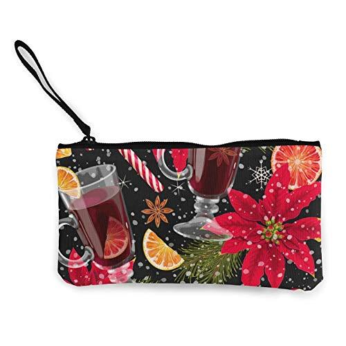 Moneda de lona, bolso de vino caliente con cremallera, bolsa de cosméticos de viaje multifunción, bolsa de maquillaje para teléfono móvil, paquete de lápices con asa