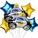 OMG Party Factory - Police Party Balloons   Police Car Themed Birthday or Academy Graduation Decorations Mylar Foil Helium Balloon Decor   Large Officer Balloon Supplies Set in Blue