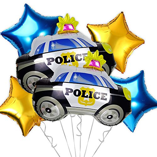 OMG Party Factory - Police Party Balloons   Police Car Themed Birthday or Academy Graduation Decorations Mylar Foil Helium Balloon Decor   Large Police Officer Car Balloon Supplies Set in Blue (Police Car)