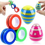 POPMISOLER 5 Pack Stress Relief Fidgeting Gadget Set,Magnetic Rings Fingertip Bracelet ,Decompression Daruma Gyro for ADHD, Autism and Anxiety for Kids and Adults