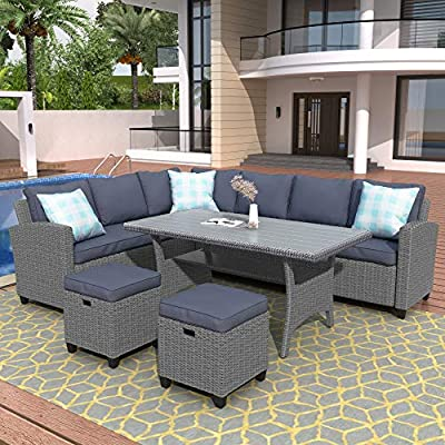 LZ LEISURE ZONE Patio Dining Table Set, Outdoor Furniture Set, 5 Piece Patio Conversation Set All Weather Wicker Sectional Sofa Couch Dining Table Chair with Ottoman & 3 Pillows (Grey)