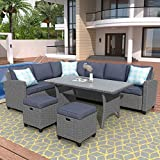 Merax Patio Dining Sets, Outdoor Conversation Set All Weather Wicker Rattan Sectional Sofa Dining Table Chairs Set with 2 Ottoman (Grey Cushion)