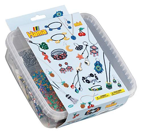 Hama 5403 Bügelperlen Mini, ca. 10.500 in Box, inklusive Stiftplatten Sechseck und Kreis sowie Zubehör, Schmuck, Mehrfarbig