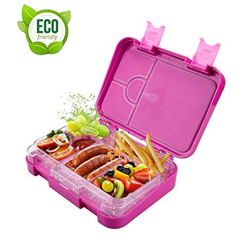Gindoly Kinder Lunchbox Bento Box Brotdose Auslaufsicher Snack-Box mit variablen Fächern und herausnehmbare Innenschale für Jungs und Mädchen - Rosa