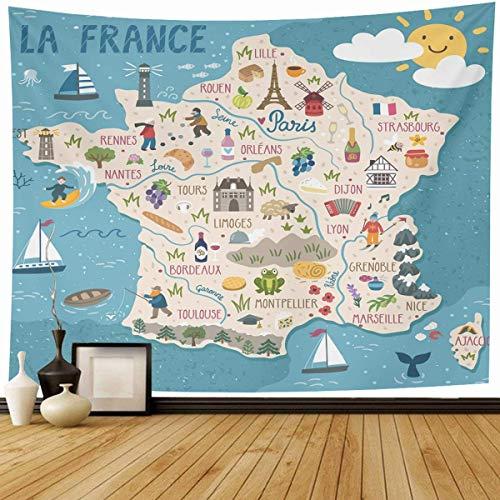 N\A Tapiz Región para Colgar en la Pared Mapa del Vino Francia Viajes Naturaleza Verano Comida Francesa Europa Ciudad Turismo Decoración del hogar Tapices Dormitorio Decorativo Salón Dormitorio