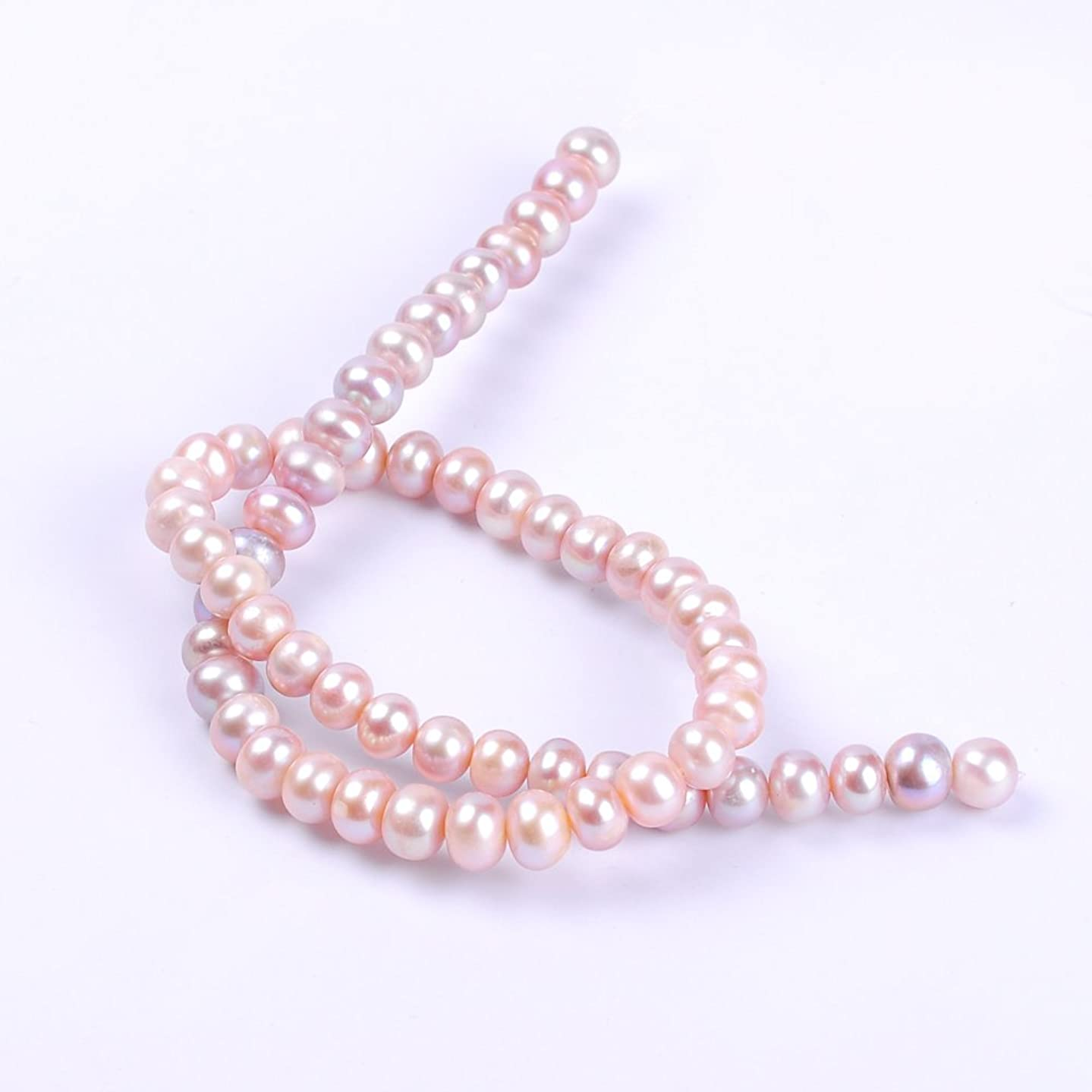 Ruilong AAAA Screw Thread Abacus Natural Freshwater Pearl Loose Beads For Jewelry Making (8-9MM Pink)