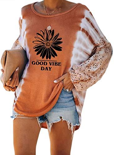 FOBEXISS Larga la Linterna de la Manga suéter teñido Anudado de la Letra de la Margarita de Las Mujeres la Camiseta de la impresión del Cuello del Barco Suelta Tapa de la túnica
