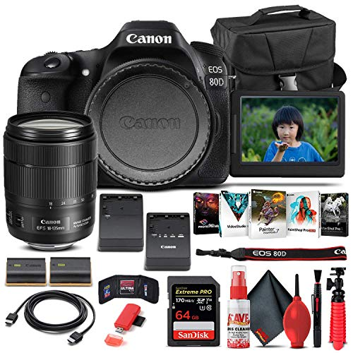 Canon EOS 80D DSLR Camera with 18-135mm Lens (1263C006) + 64GB Memory Card + Case + Corel Photo Software + LPE6 Battery + External Charger + Card Reader + HDMI Cable + Cleaning Set + More (Renewed)