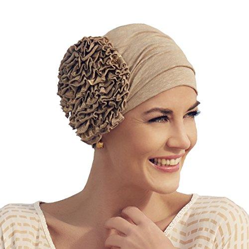 Christine Headwear Turban Aimée en Lin doré orné d'une Fleur pour Femme