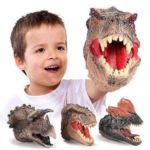 GEYIIE Dinosaur Hand Puppets, Soft Rubber Dinosaur Head Toys Set Animal puppets