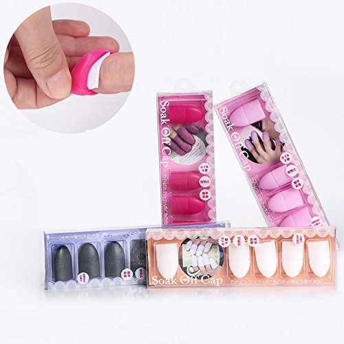 Absir Silicone Nail Polish Remover Wrap, Soak Off Cap Clip Manicure Nail Art Tools, Reusable UV Gel Polish Remover Caps Tips