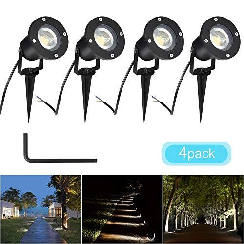 CPROSP 4PCS 5W GU10 Spots de Jardin Ampoules Blanc Naturel Lampes Solaires Etanche pour Extérieur, Jardin, Chemin, Allé, AC85-265V, 4000K