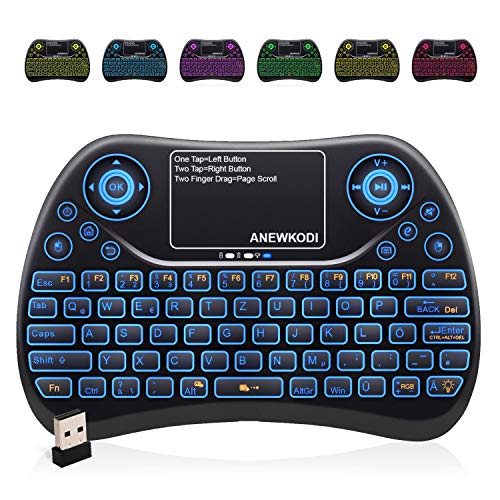 Mini Tastatur Wireless mit Touchpad , Smart TV Tastatur Fernbedienung, 2.4 GHz Wireless Backlit QWERTZ Mini Tastatur Beleuchtet für HTPC,IPTV,Android TV-Box,XBOX360,PS3,PC(2020 Aktualisierte Version)